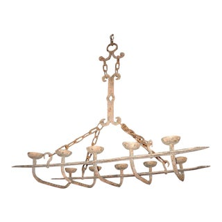Antique Forged Iron Chandelier From France For Sale