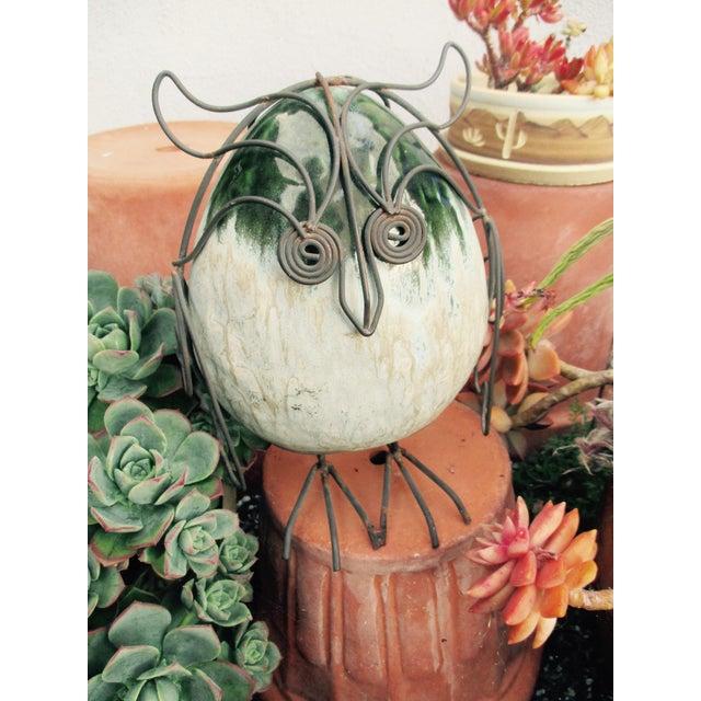 Ceramic Glazed Owl on Wire Stand - Image 4 of 10