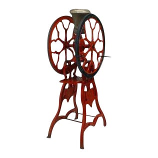 American Victorian red and black painted iron full standing coffee grinder For Sale