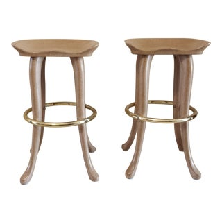1960s Safari Marge Carson Elephant Bar Stools - a Pair For Sale