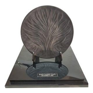 20th Century Art Nouveau Black Lalique Plate on Lucite Stand For Sale