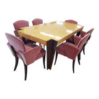 Italian Art Deco Revival Rosewood - Birdseye Maple Dining Set For Sale