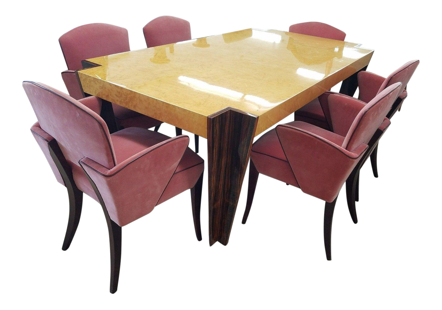 Italian Art Deco Revival Rosewood   Birdseye Maple Dining Set
