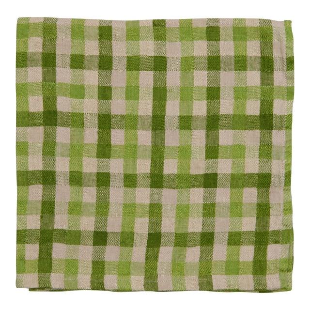 Deborah Rhodes Checkerboard Napkins, Green, Set of 4 For Sale