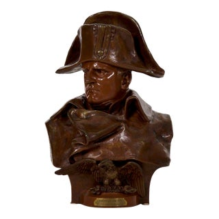 19th Century Antique Bronze Sculpture Bust of Napoleon by R. Colombo