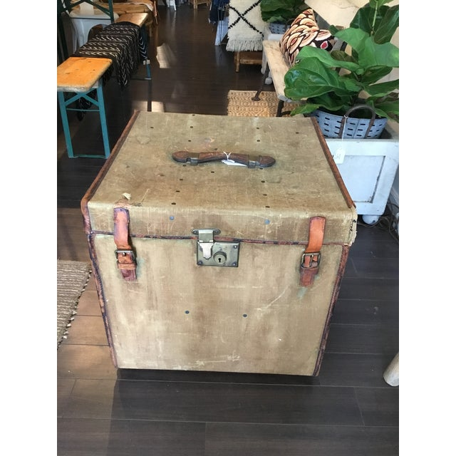 20th Century Rustic Leather and Canvas Trunk For Sale - Image 13 of 13