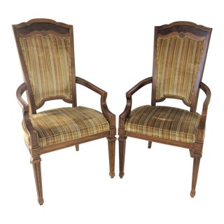 Italian Provincal Fruitwood Arm Chairs - a Pair