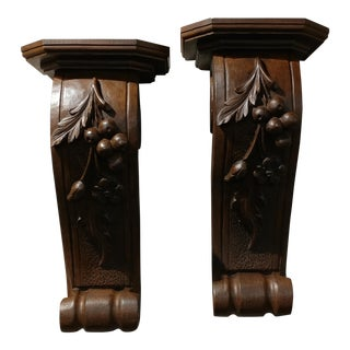 Vintage Carved Wood Wall Shelf Corbels - A Pair