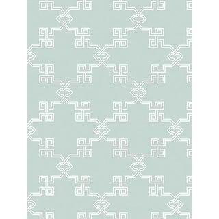 Sample, Scalamandre Suzhou Lattice, Aquamarine Wallpaper For Sale