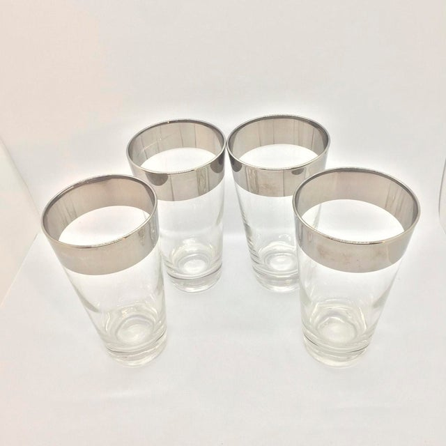 Dorothy Thorpe style (no makers mark) Mid-Century Platinum Banded High Ball Glasses Set of 4. Generous weight with thick...