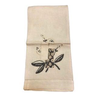 Vintage Mid-Century Linen Guest Towel For Sale
