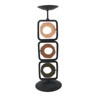 Mid-Century Modern Iron Candle Holder With Acrylic Discs For Sale