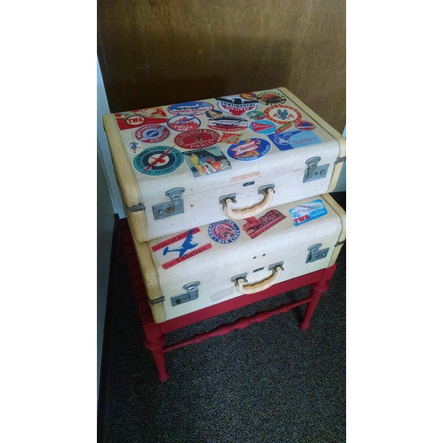 Vintage Suitcase Storage Accent Table - Image 3 of 9