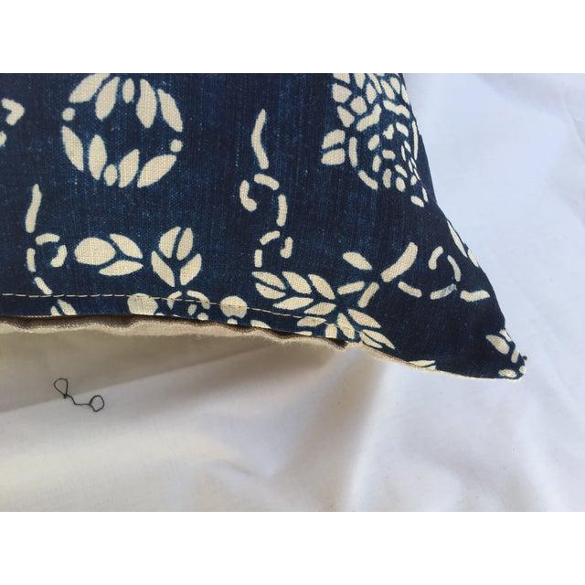 Indigo Batik Koi Fish Pillow For Sale - Image 4 of 6