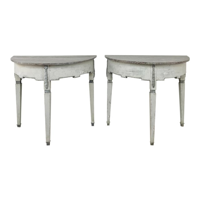 Pair 19th Century Swedish Painted Demilune Consoles For Sale