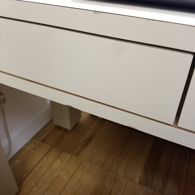 Metal 1970s Mid Century Modern Beige Laminate Parsons Writing Desk For Sale - Image 7 of 8