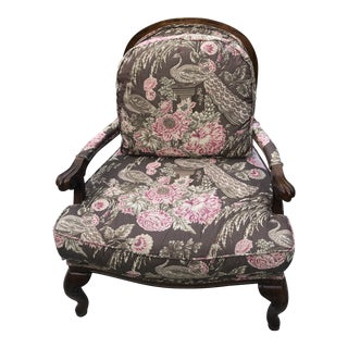 French Style Lattice Back Bergere Arm Chair For Sale