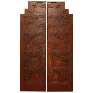 Chinese Carved Temple Courtyard Door Panels - A Pair For Sale