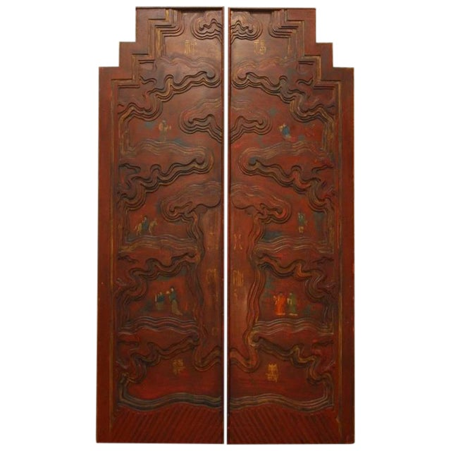 Chinese Carved Temple Courtyard Door Panels - A Pair - Image 1 of 10