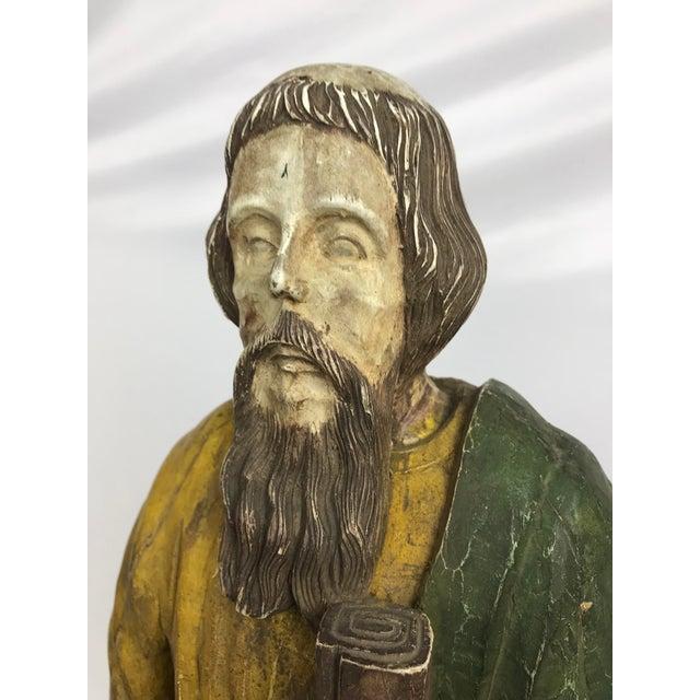 Figurative Rustic Primitive Philippine Santos Figure of a Saint For Sale - Image 3 of 7