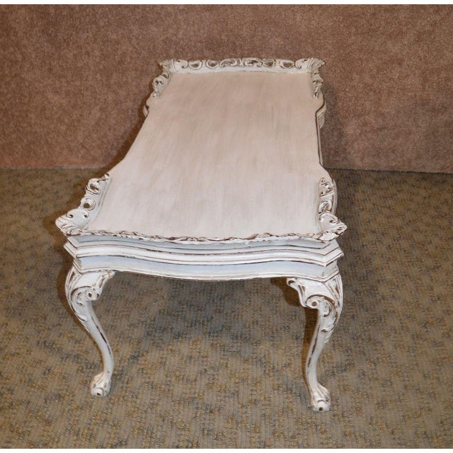 White Vintage Carved Mahogany Shabby Cottage Chic Cocktail Table For Sale - Image 8 of 13