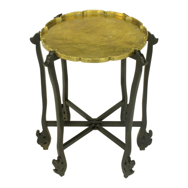 Carved Ebony Folding Table with Etched Brass Tray Top For Sale