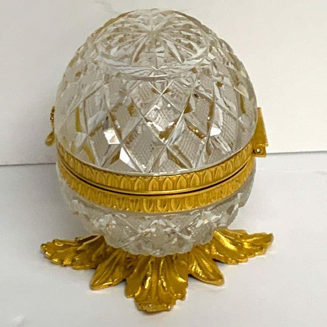 Glass Baccarat Style Cut Glass and Ormolu Egg Motif Box For Sale - Image 7 of 10