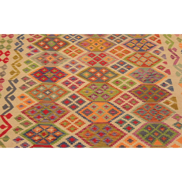 Textile Eulah Ivory/Blue Hand-Woven Kilim Wool Rug -8'6 X 11'5 For Sale - Image 7 of 8