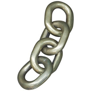 1960s Brass Chain Links Sculpture Paperweight in the Manner of Carl Aubock For Sale