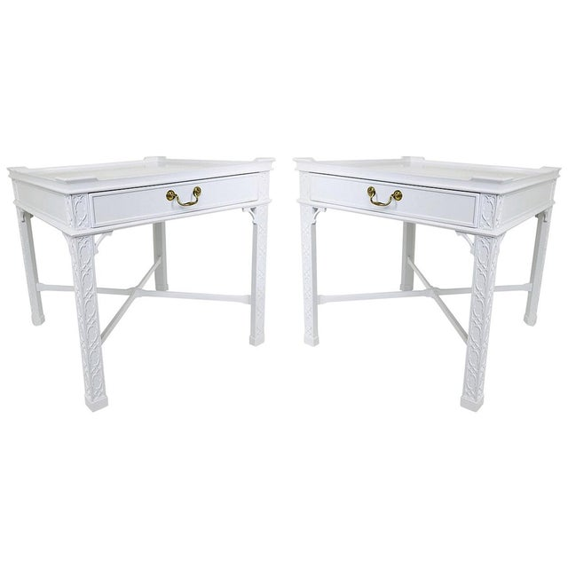 Wood Pair of Lacquered Chippendale Side Tables by Baker For Sale - Image 7 of 7