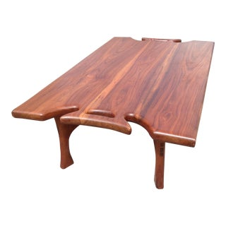 Japanese Walnut Hand-Carved Coffee Table For Sale