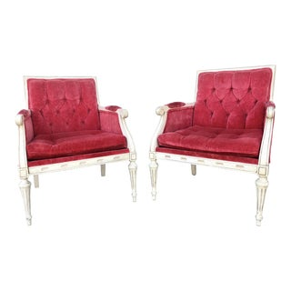 Neoclassical Tufted Arm Chairs - a Pair