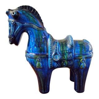 """Mid Century Italian Aldo Londi """"Rimini Blu"""" Bitossi Ceramic Horse"""