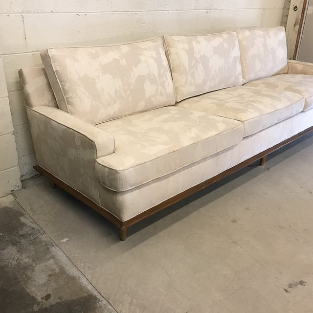 Mid-Century Sofa With Brass Legs For Sale - Image 4 of 9