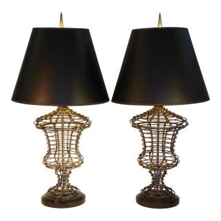 Pair Maitland Smith Sculptural Urn Form Wire/Marble Table Lamps