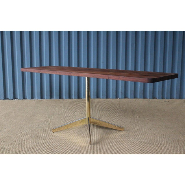 1960s Solid Walnut Console Table on Brass-Plated Base, Usa, 1960s For Sale - Image 5 of 9