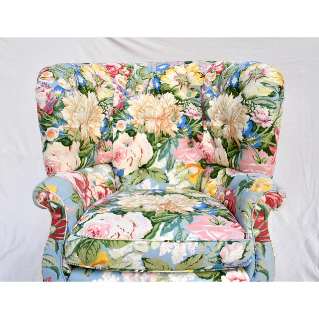 Sky Blue Baker Furniture Floral Tufted Wingback Chair on Brass Casters For Sale - Image 8 of 13