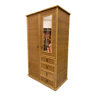Vintage Woven Wicker Veneered Armoire For Sale
