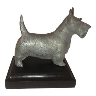 Mid 20th Century Vintage Metal Terrier on Wood Base For Sale