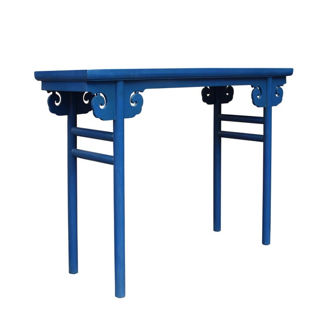 Chinese Scroll Apron Rustic Blue Altar Console Table For Sale In San Francisco - Image 6 of 7