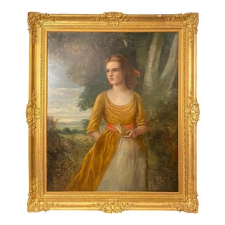 19th Century Palatial Oil on Canvas of a Young Beauty For Sale