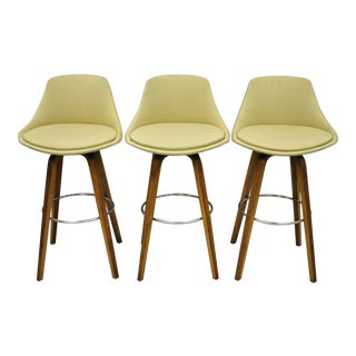 Mid Century Modern Danish Style Bentwood Upholstered Bar Stools-Set of 3 For Sale