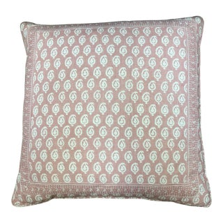 Peter Dunham Pink Rajmata Print Down Designer Pillow For Sale