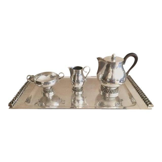 Jean Despres Stamped Superb Big Tea Set in Hammered Silvered Tin For Sale
