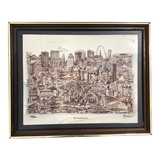 """St. Louis """"Gateway City"""" Etched Marble Wall Art by John K Thompson Jr For Sale"""