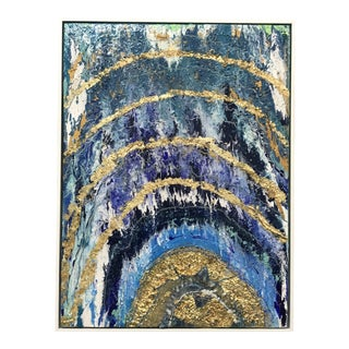 Abstract Framed Oil Painting With Resin and Rock Crystal on Canvas by Franchy For Sale