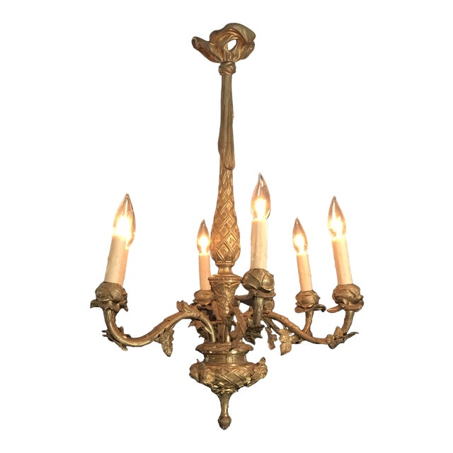 French Gold Gilt Bronze Six-Arm Chandelier For Sale