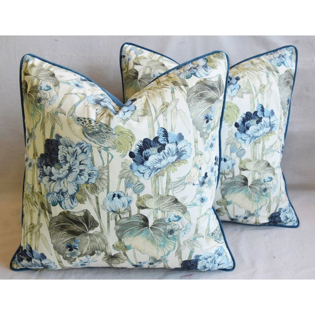 "Feather Chinoiserie Crane & Floral Feather/Down Pillows 24"" Square - Pair For Sale - Image 7 of 13"