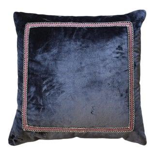Square Designer Eggplant Velvet Down Filled Pillow For Sale