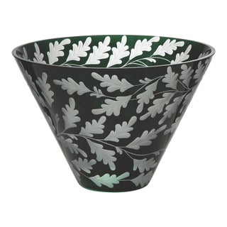 Oak Leaves Large Bowl, British Racer Green For Sale